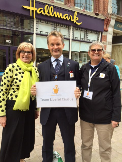 """Louise Bradley, President and CEO of the Mental Health Commission of Canada;  Seamus O'Regan, MP (St. John's South-Mount Pearl); and Christine Hampson, President and CEO of The  Sandbox Project"""
