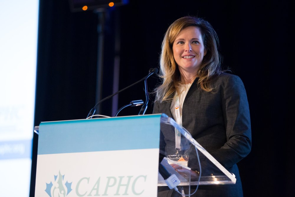 Emily Gruenwoldt, CAPHC President & CEO, speaking during the 2017 CAPHC Conference Opening Ceremonies. Photo: Dufour/Egan