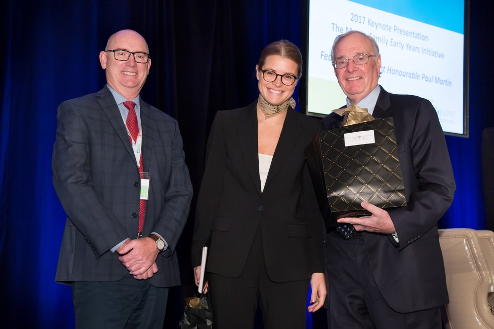 Dr. Peter Fitzgerald (CAPHC Board Chair), Chloe Mills, The Right Honourable Paul Martin. Photo: Dufour/Egan