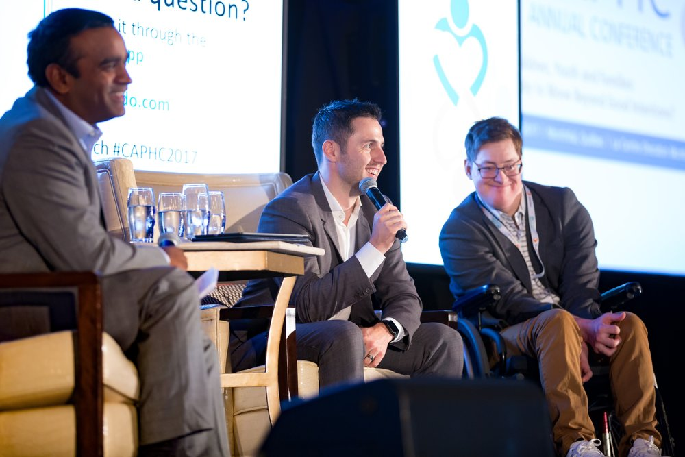 Ian Mendes, Alexandre Bilodeau, and Frederick Bilodeau during the CAPHC Motivational Keynote Address. Photo: Dufour/Egan