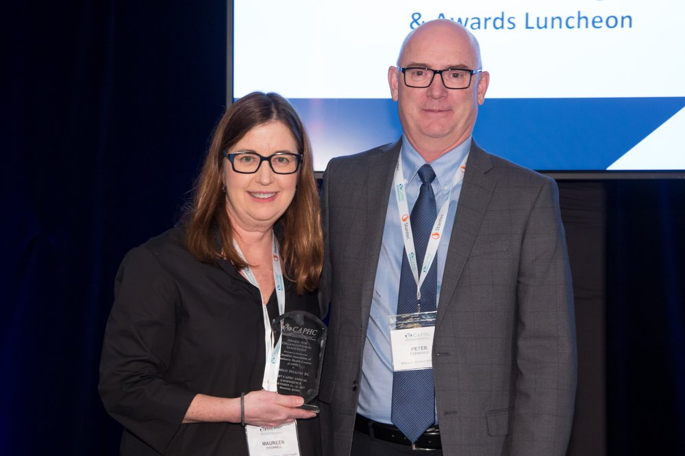 On behald of Child Health BC, Dr. Maureen O'Donnell accepting the 2017 CAPHC Award for Organizational Leadership from the Chair of the CAPHC Board, Dr. Peter Fitzgerald - Photo: Dufour/Egan