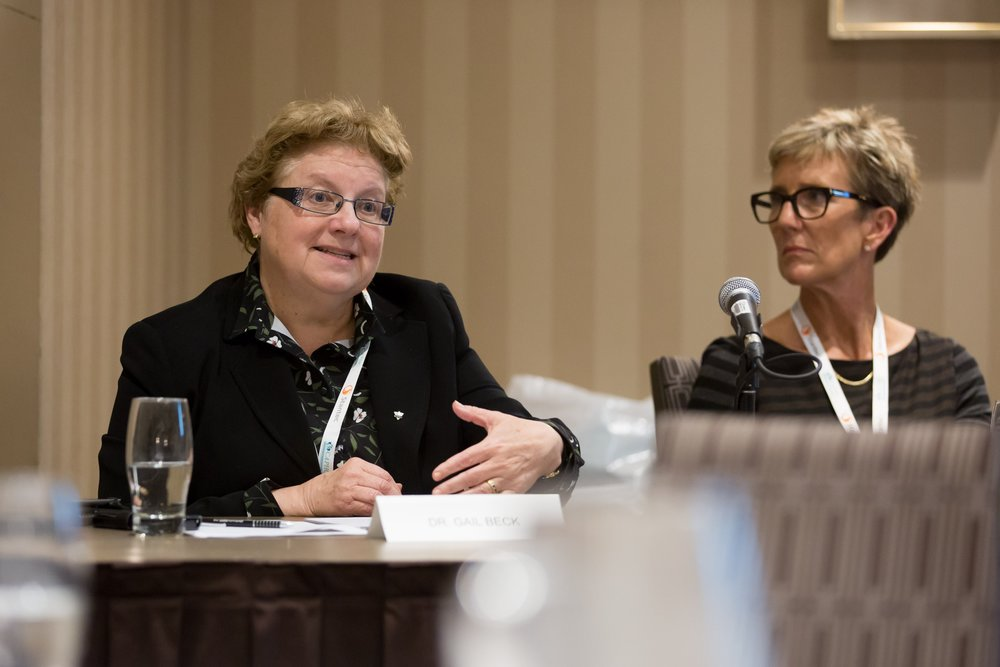 Dr. Gail Beck and Dr. Fiona Campbell speaking at the Concurrent Session  Substance Use Policy and the Impact on Paediatric Health Centres.  Photo: Dufour/Egan