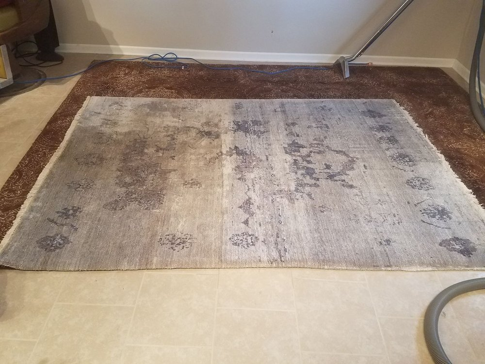 LEFT:  Underside of an oriental rug with pet stains.    RIGHT: After our P.U.R.T. cleaning process