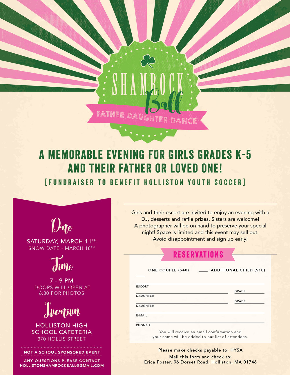 Flyer size event invitation - perfect size for elementary school age kids to bring home to their parents!