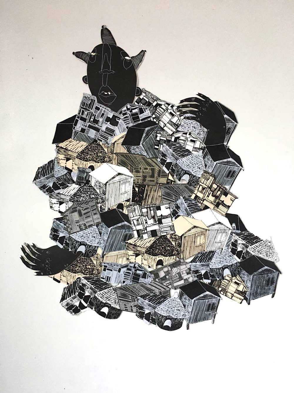 Motherland,my half to a collaboration with Renee Martinez, Screen print, intaglio collaged together, 4 x 3 feet, 2016