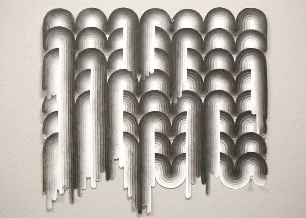 Zach Mory, Waves, graphite on paper, 17 x 15 inches, 2016