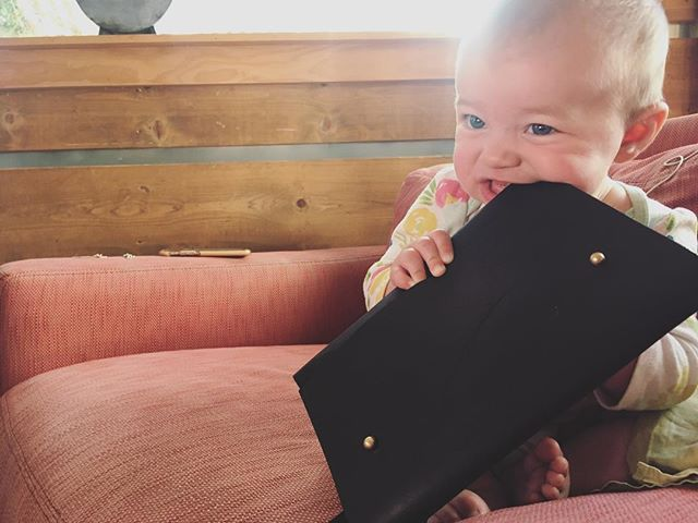 Even babies love our anti-fanny pack #teething #beltbag #fannypack #bag #gucci #justkidding #fiveeighteen