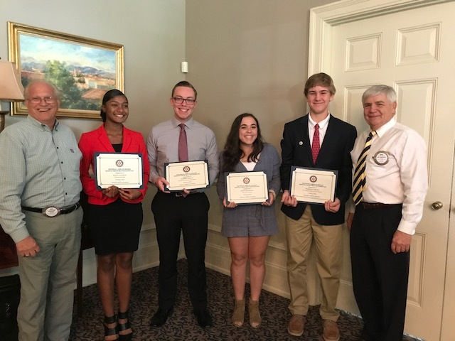 High school students from area schools receiving the Service Above Self award