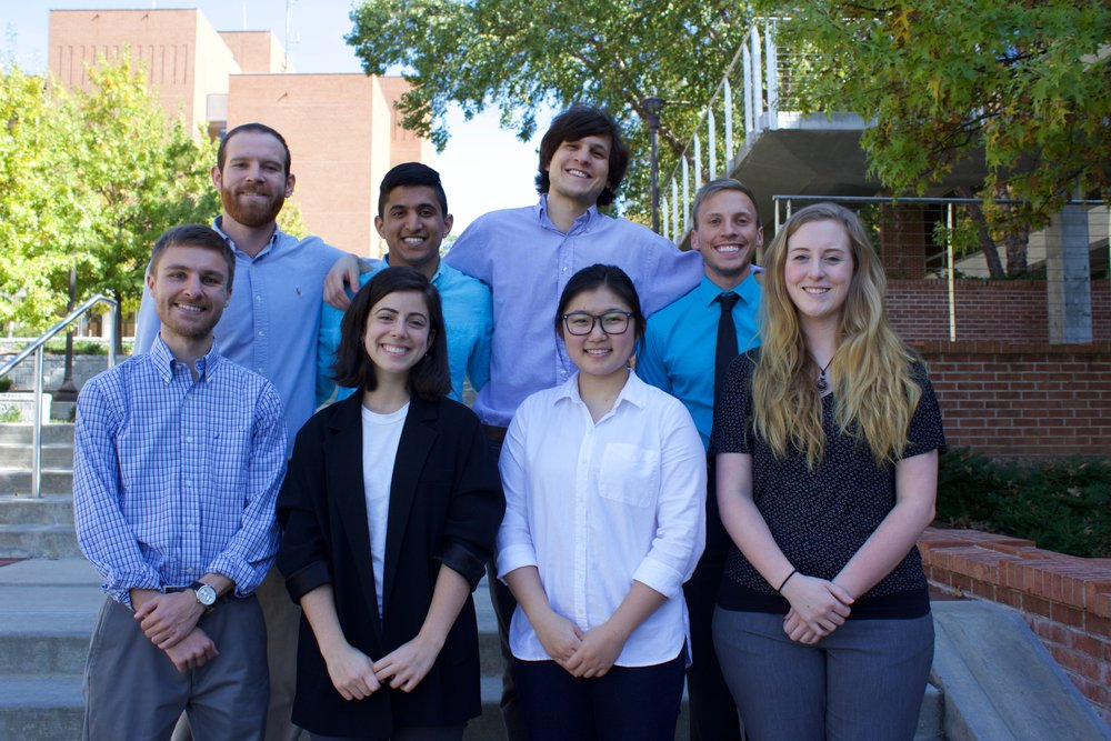 Alexander Academy Teaching Staff in 2016. Back: Kevin Lawkins, Sahil Pujara, Matthew Schuck and John Eng. Front: Zack Morris, Nicya Mannochio, Erica Shin and Rebecca Withers.
