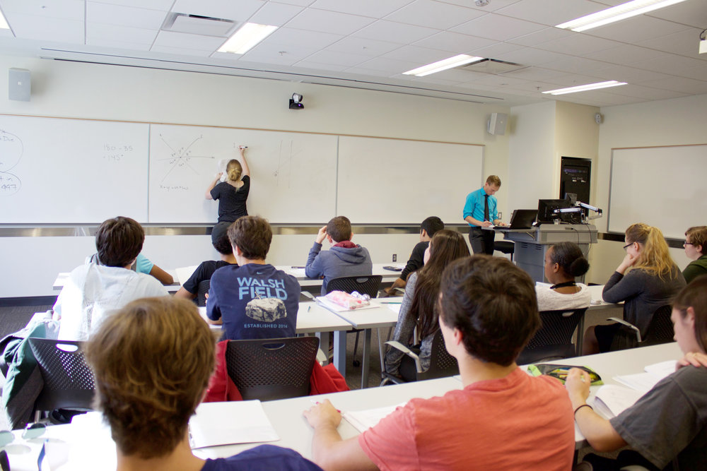 Emma Smith and John Eng Teaching an SAT class at Georgia Tech, Spring 2016