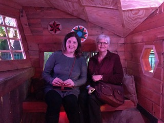 Lots of little nooks and crannies and ways to interact with the art. This wasn't creepy. And we look cute!