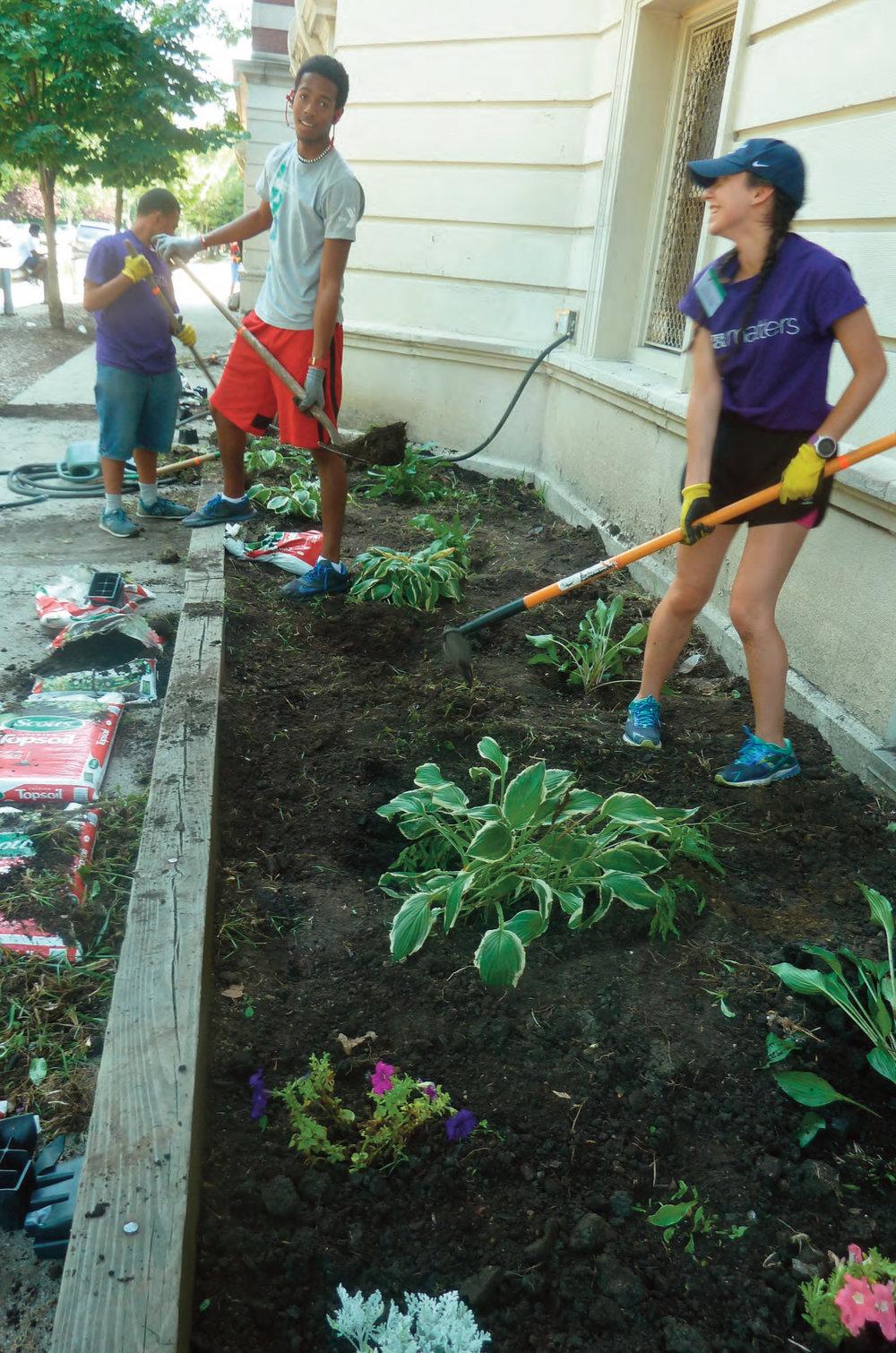 Building a garden.