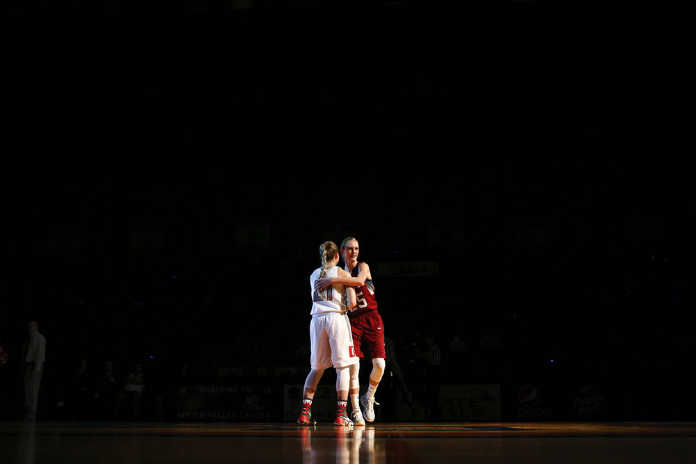 Delta's Harlee Willoughby, left, and North Sevier's Peyton Torgerson meet center court prior to the 2A Girls state basketball championship Saturday, Feb. 27, 2016 at the Sevier Valley Center in Richfield, Utah.