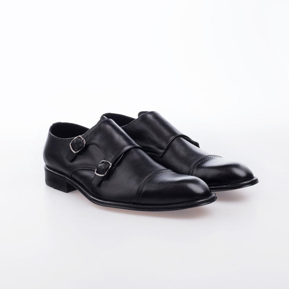 5037 Negro $1,799 MX Zapato Monkstrap doble hebilla, entintado a mano.
