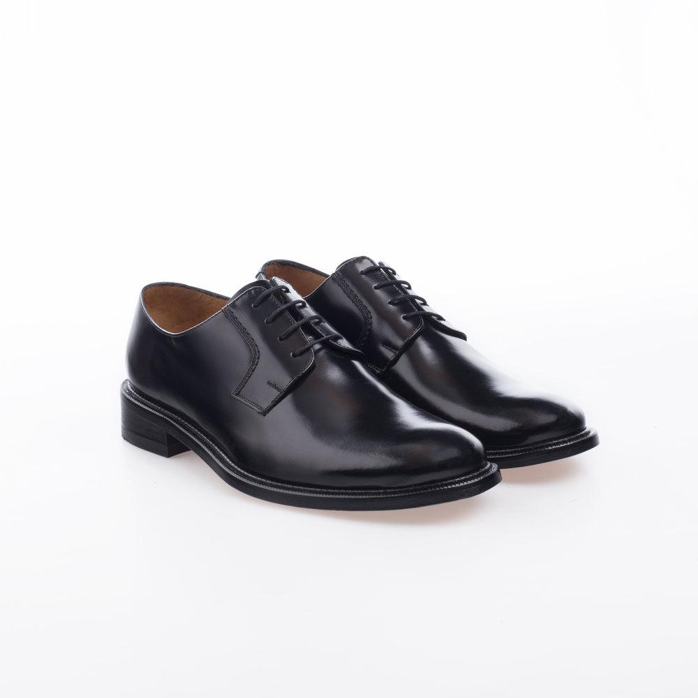 6000 Negro $1,299 MX Zapato Blucher liso, Alto brillo.