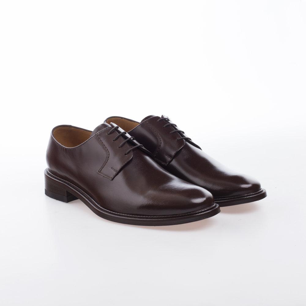 6000 Cafe $1,299 MX Zapato Blucher liso, Alto brillo.