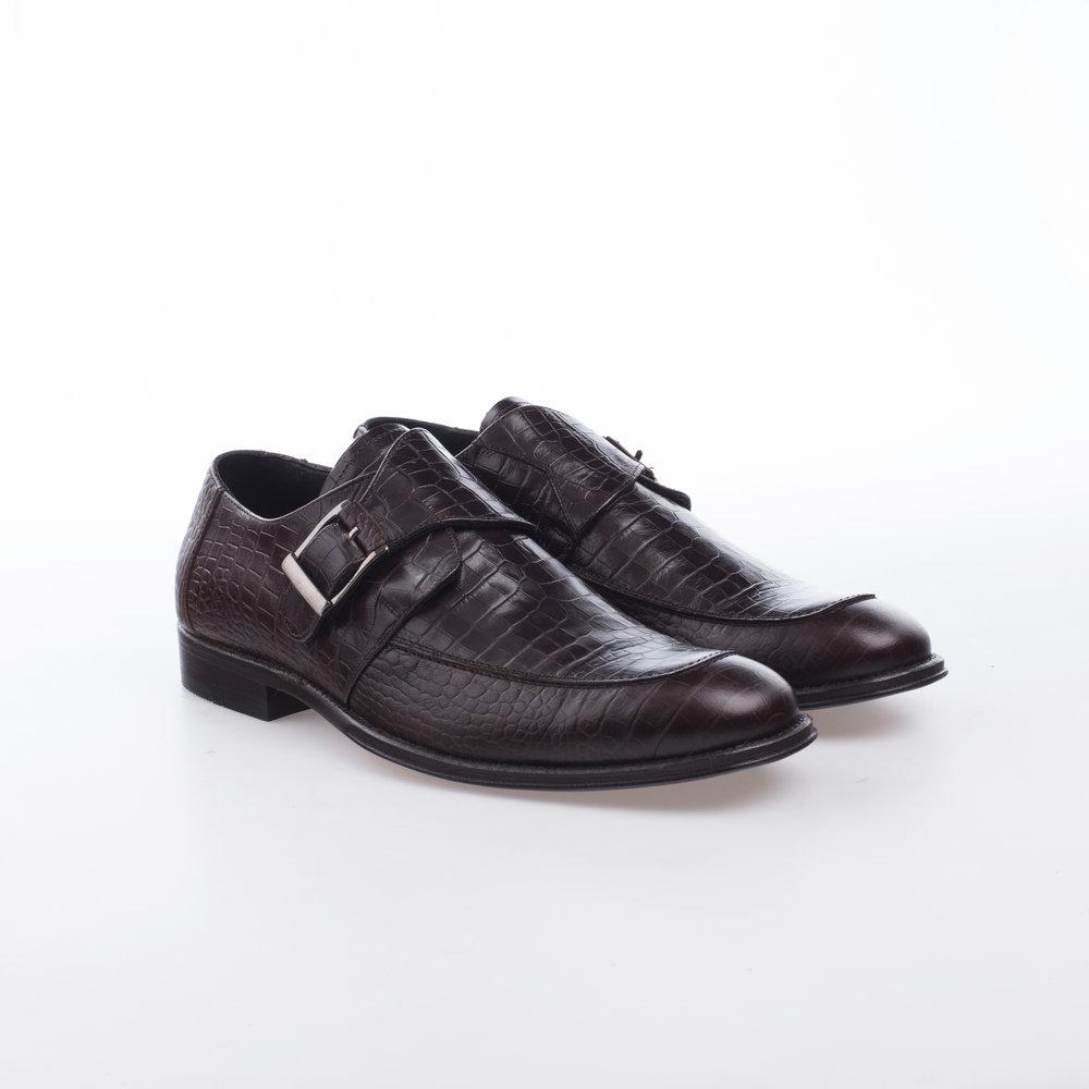 9131 Cafe $1,599 MX Zapato Monk una hebilla, Alligator Stamping.