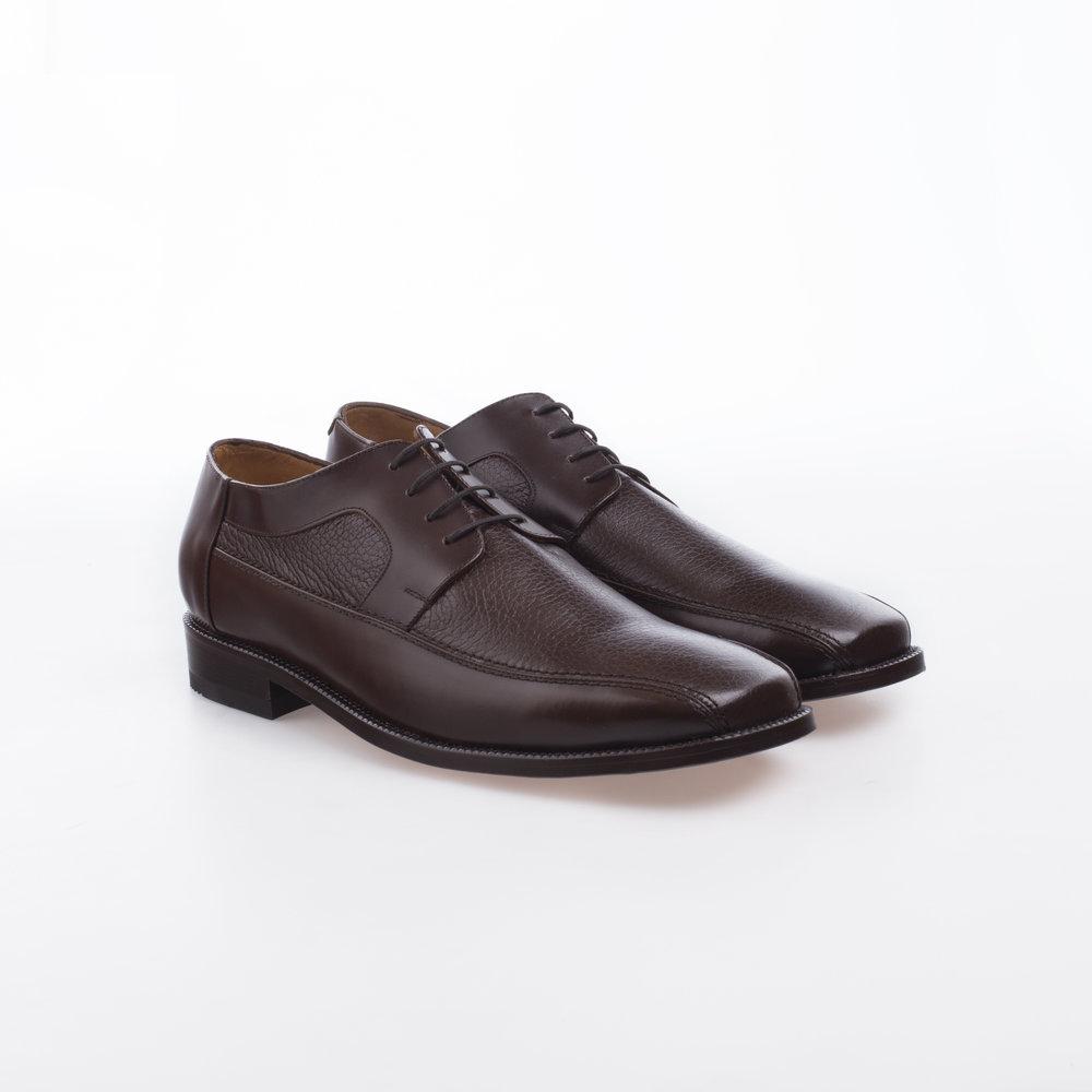8020 Cogñac $1,299 MX Zapato Derby, combinación de pieles Ternera y Venado.