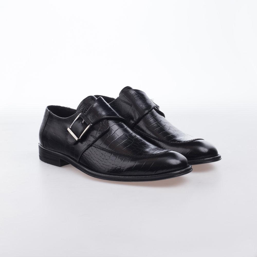 9131 Negro $1,599 MX Zapato Monk una hebilla, Alligator Stamping.
