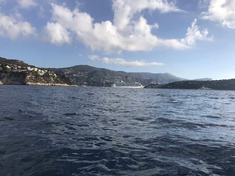 I zoom quickly across Nice and am soon trying to gaze into VilleFranche. Nice cruise vessel blocking the view.