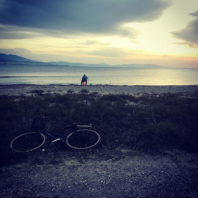 Simple life. Bike. Chair. Fishing. Peaceful. #thepieceprize #iphone #greecesunset #simplicityeverywhere #peaceful