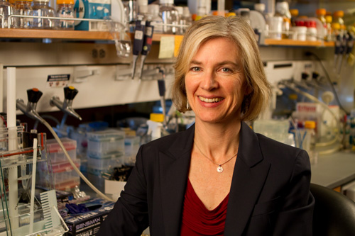 Dr. Jennifer Doudna in her lab.    Photo courtesy of the University of California, Berkeley