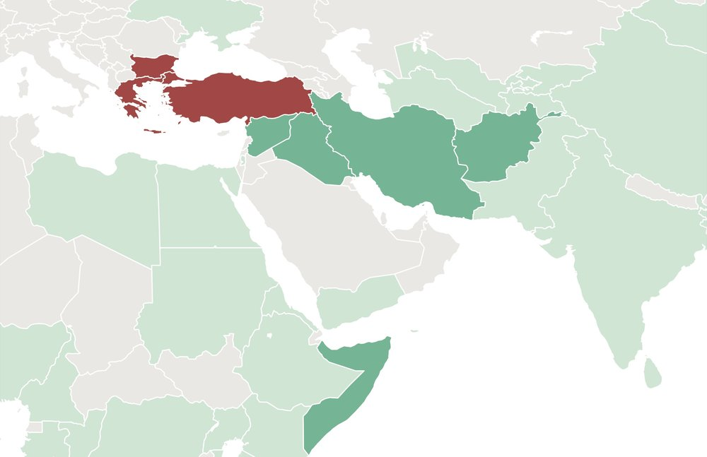The five countries in dark green make up the majority of our clients: Syria, Iraq, Afghanistan, Somalia, and Iran.