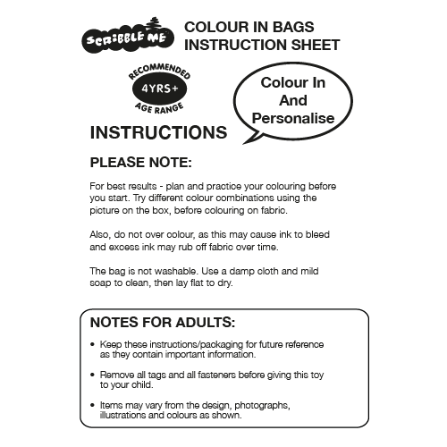 Scribble Me Colour In Bag Instructions