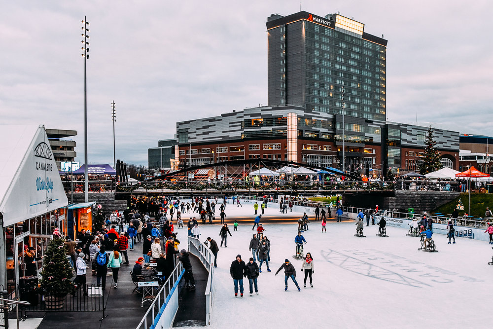 Panoramic shot of The Ice at Canalside.