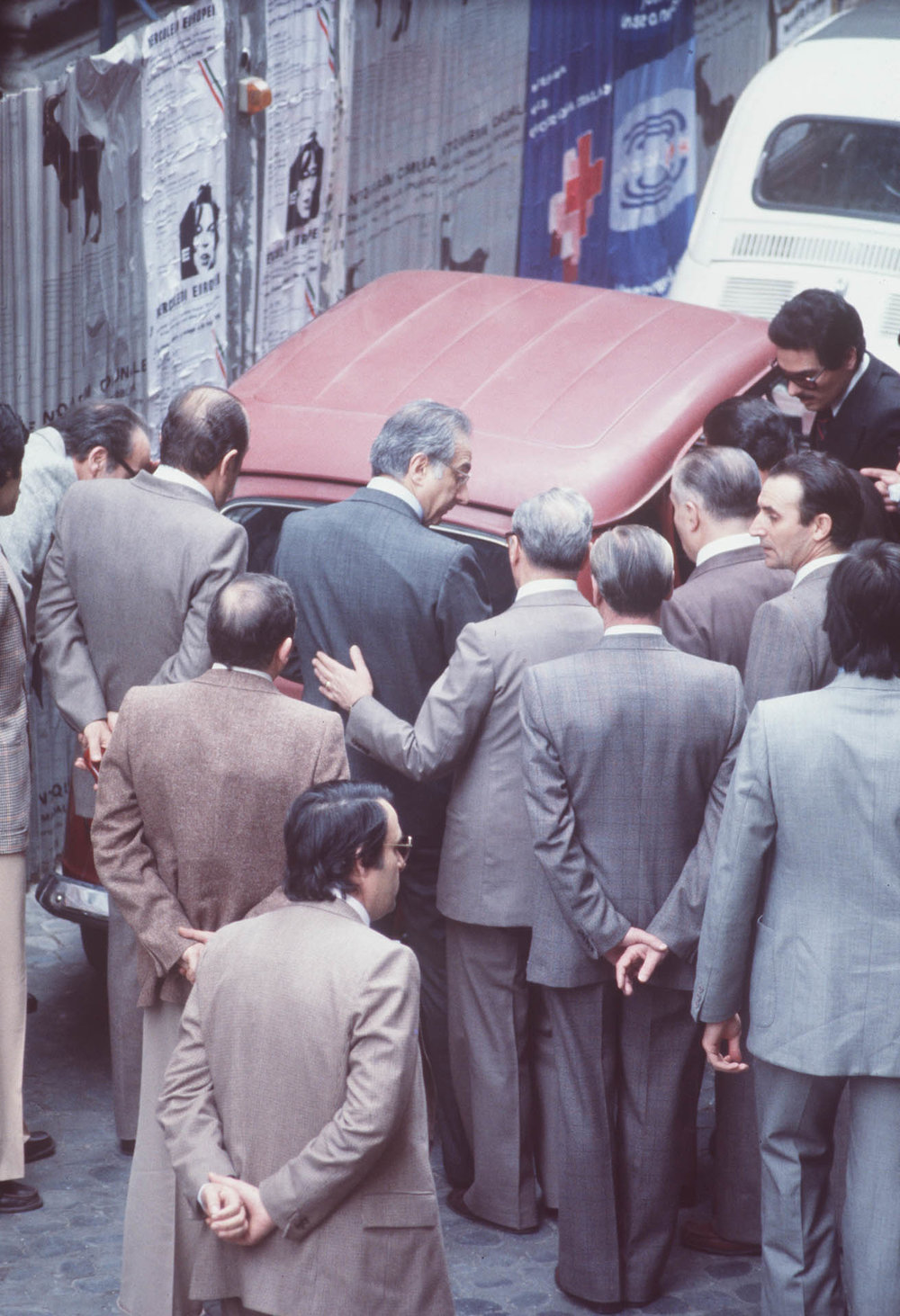 Rome, Italy 9 May 1978 Minister of the Interiors Francesco Cossiga in front of the Red Renault where Aldo Moro's corpse lies.