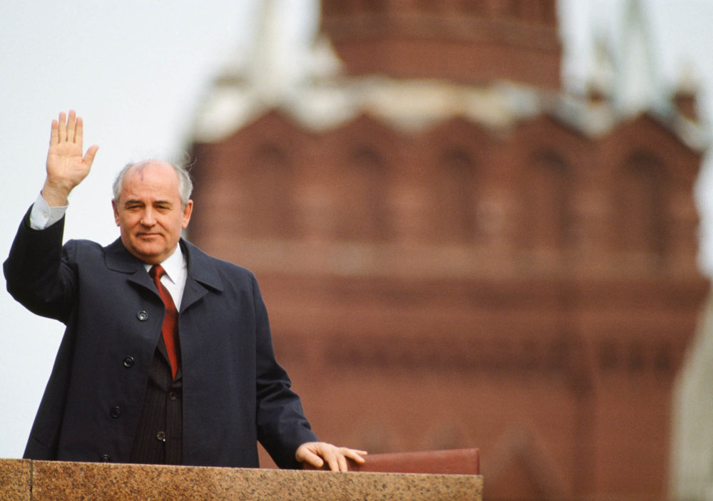 Moscow, Russia, USSR - April-May 1989 Soviet leader Mikhail Gorbachev is the man behind the Perestroika social and economic policy.
