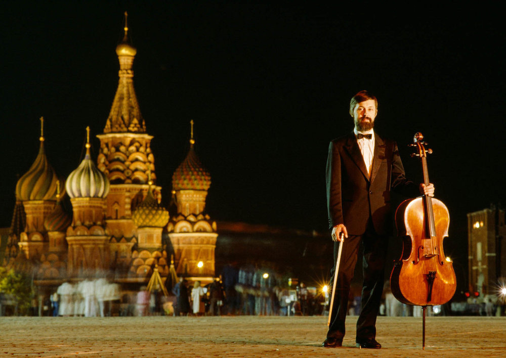 Moscow, Russia, USSR - April-May 1989 Cello player Ivan Monighetti
