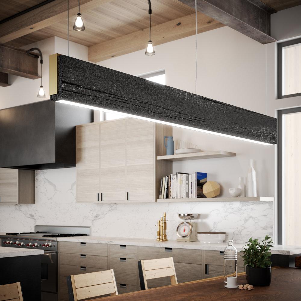 Custom shou sugi ban rectangular chandelier designed by Gauge Design Group.