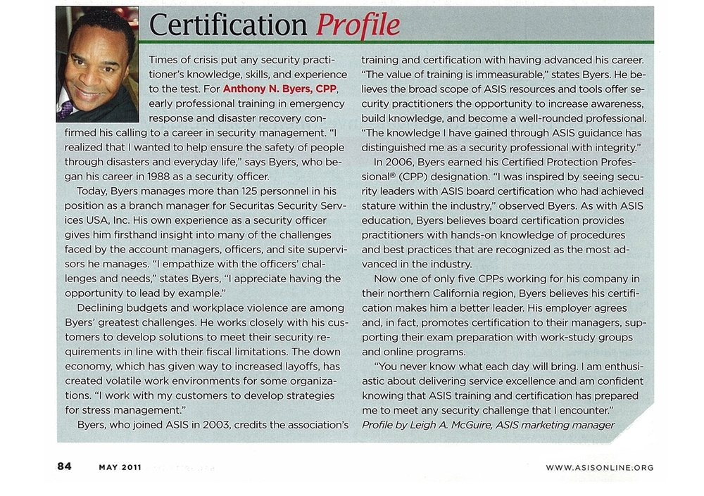 Anthony Byers Profiled in ASIS MAGAZINE -
