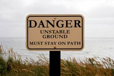 "If there is a ""DANGER Unstable Ground, Must Stay On Path"" sign, you should stay on the path. But unstable ground isn't always marked and isn't always on forbidden ground."
