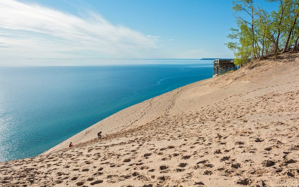 Dunes rising 450 feet above the edges of Lake Michigan, countless miles of beaches, clear lakes, and spectacular views can be found at this National Lakeshore in Michigan.