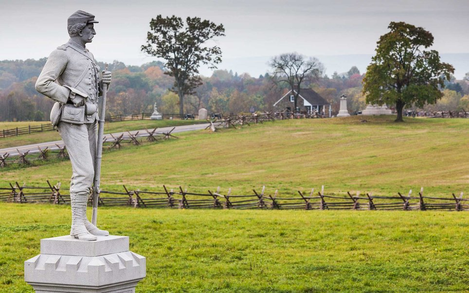 Gettysburg National Park, located in south-central Pennsylvania, is the site of arguably the most consequential battle of the Civil War.