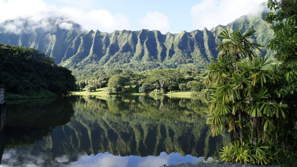 "The lush, 400-acre rainforest park, backed by the majestic Koolau mountains, is aptly named ""a peaceful refuge."" The only city-run campsite on Oahu that isn't on the beach, the garden was designed and built in the early 1980s by the U.S. Army Corps of Engineers to provide flood protection for Kaneohe. The site has 20 weekend campsites with restrooms, outdoor showers and picnic areas, where you can hike, fish and feed ducks at the lake."