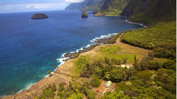 This isolated peninsula on the north coast of the island of Molokai is surrounded by sea and high cliffs—and not easy to get to.