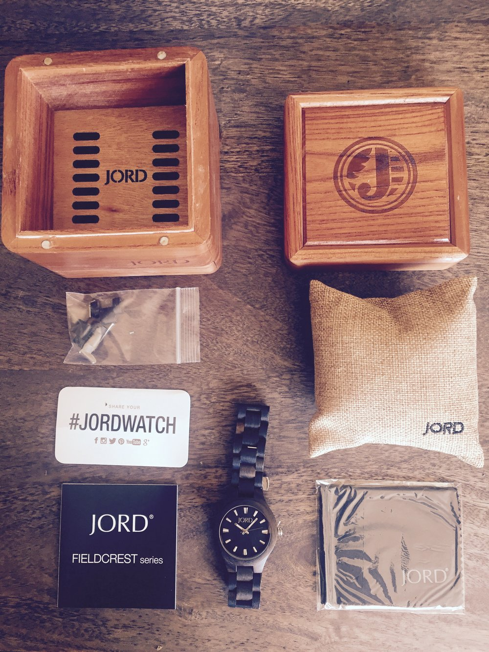 JORD Fieldcrest Dark Sandalwood Series Women's Watch Packaging box watch and tags laid out to see all at once