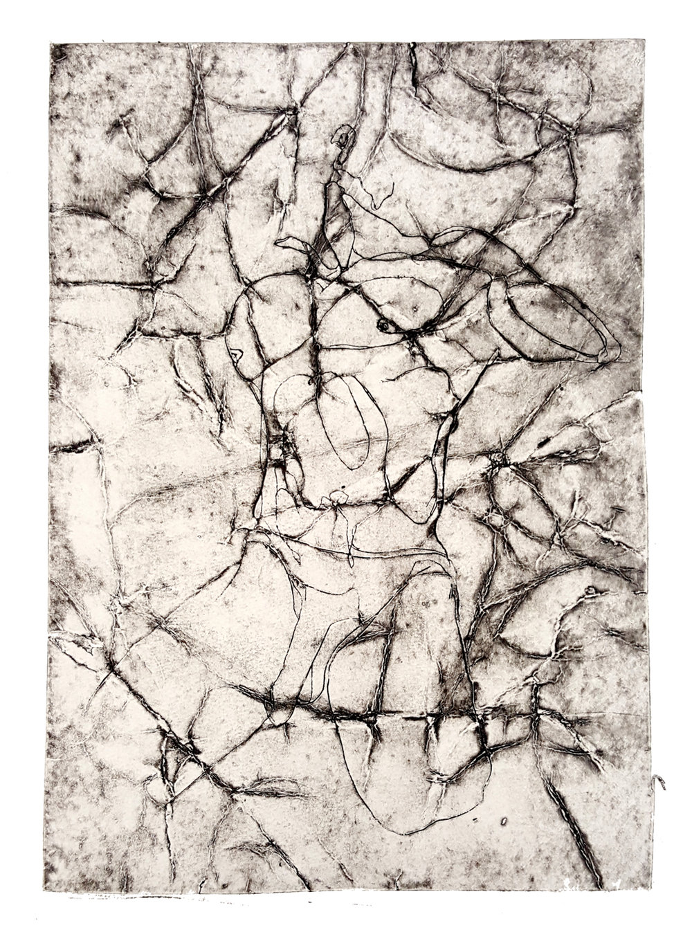 'Untitled', 2016, wax-plate etching on paper