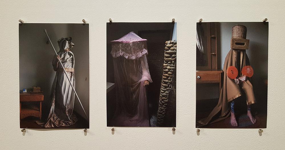 Simon Cooper,  Triple Double-Ganger: Portrait of the artist as the artists or portrait of the artists as the artist , 2016, digital photographs. Subjects: Fiona Morrison, Sarah Pirrie, Amina McConvell.