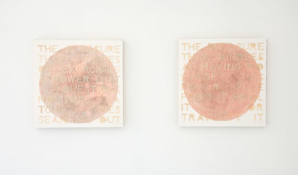 power & pleasure (flesh becomes words), 2017, gauche & graphite wax-plate print & encaustic on paper, wooden panel