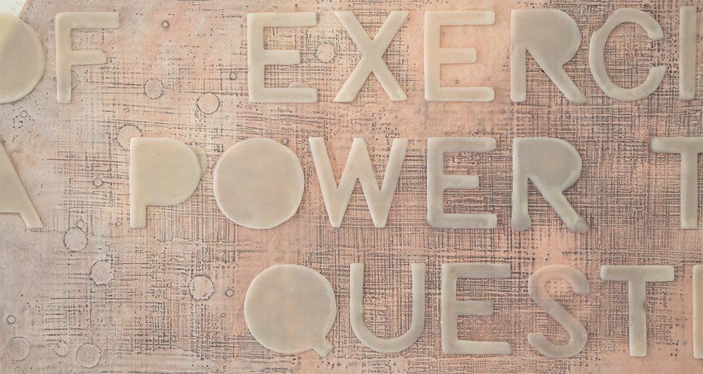 power & pleasure (flesh becomes words), detail, 2017, gauche & graphite wax-plate print & encaustic on paper, wooden panel