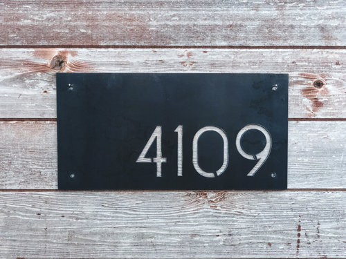 mid century modern house number plaque ashes and oak