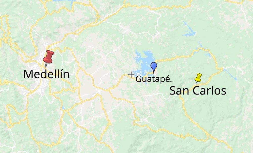 San Carlos proximity to Medellín and Guatapé