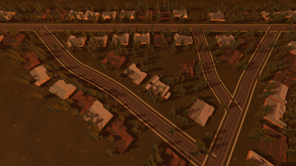 Procedurally generated neighborhood with procedural houses.