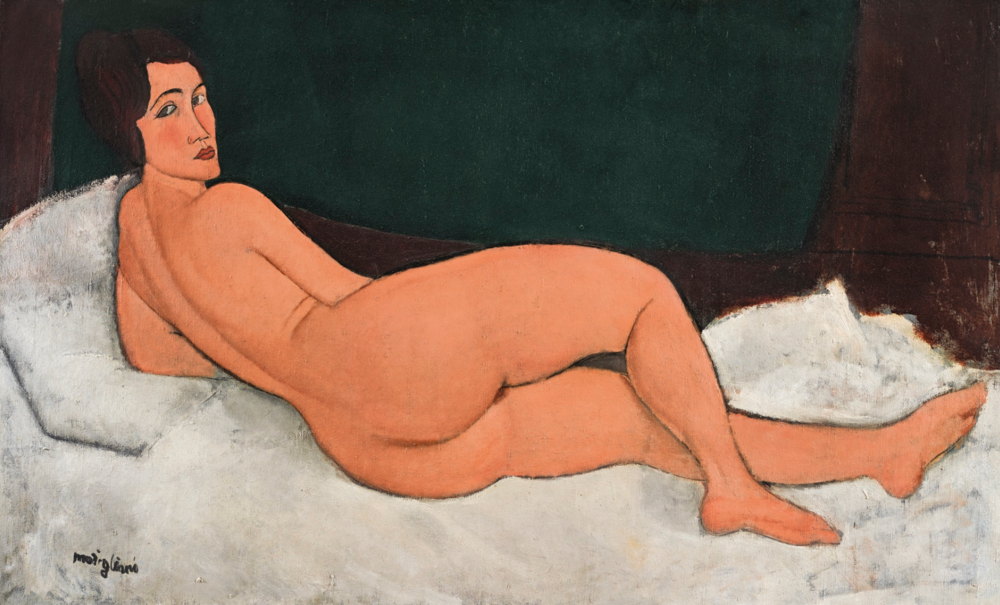 Amedeo Modigliani.  Nu couch (sur le cote gauche) . Oil on canvas. 35 1/4 by 57 3/4in. 1917.