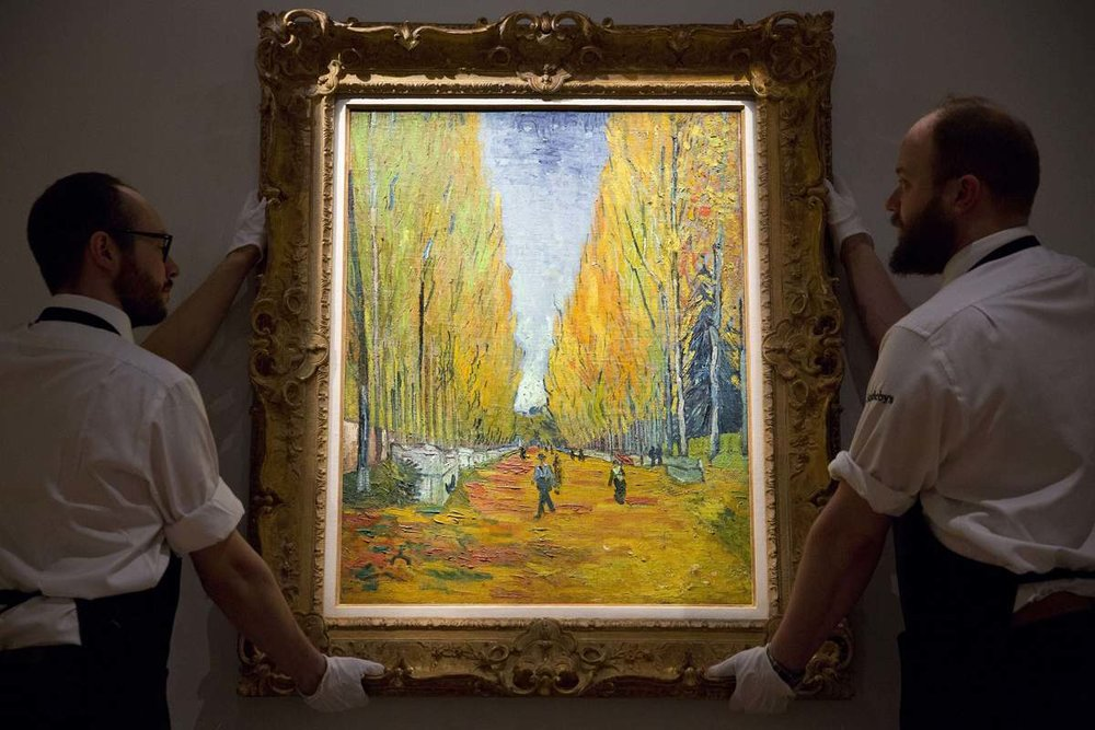 Vincent Van Gogh,  L'Allee des Alyscamps  (1888) when it was offered for sale at Sotheby's in May 2015
