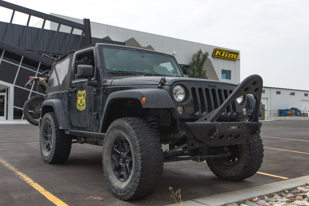 Arriving at KLiM HQ in the PNW Dual Sport Jeep.